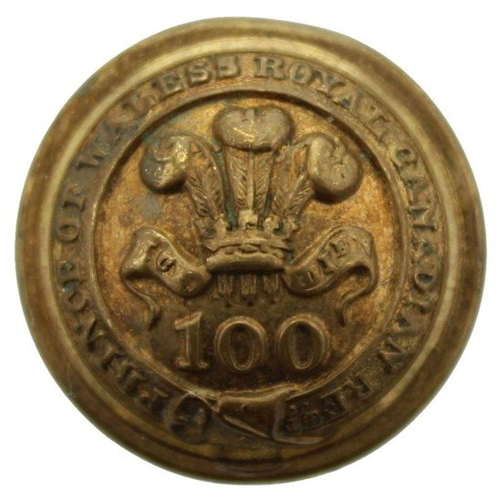 Leinster Regiment VICTORIAN 100th Regiment of Foot (PoW's Royal Canadian) 1855-1881 OFFICERS Tunic Button - 25mm