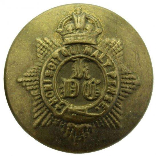 1st Kings Dragoon Guards WW1 1st Kings Dragoon Guards King's Regiment Tunic Button - 26mm