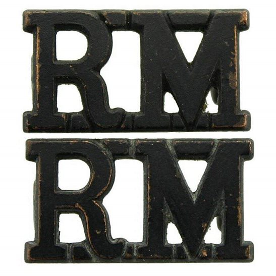 Royal Marines WW2 Royal Marines Corps RM Shoulder Title PAIR