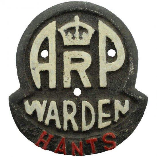 Air Raid Precautions ARP WW2 Air Raid Precautions Warden Hampshire ARP Post Metal Door Plaque Sign