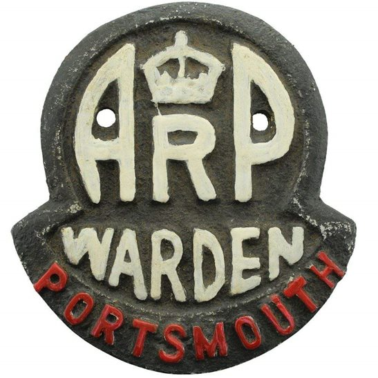 Air Raid Precautions ARP WW2 Air Raid Precautions Warden Portsmouth ARP Post Metal Door Plaque Sign