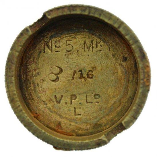 WW1 No 5 Mills Bomb Grenade Base Plug V.P. Ld .L. Vickerys Patents Ltd - Somme Battlefield Find