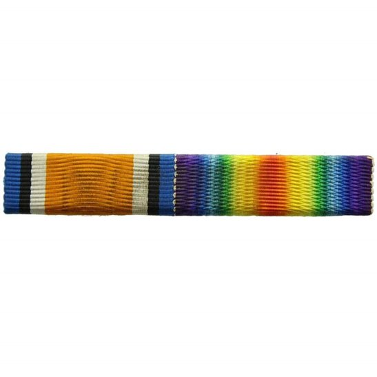 WW1 Pair (British War & Victory Medal) Ribbon Bar - PIN BACK