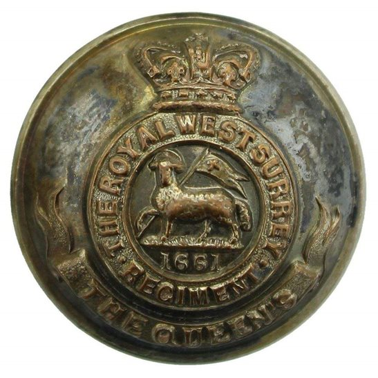 West Surrey VICTORIAN Queens Own Royal West Surrey Regiment (Queen's) Tunic Button - 26mm