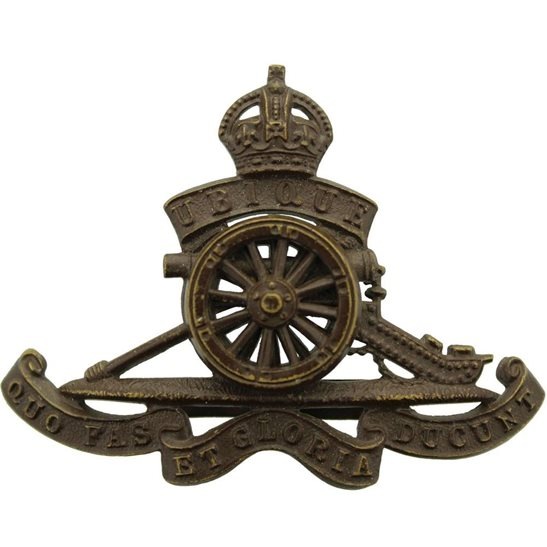 Royal Artillery WW1 Royal Artillery Regiment OFFICERS Bronze Cap Badge