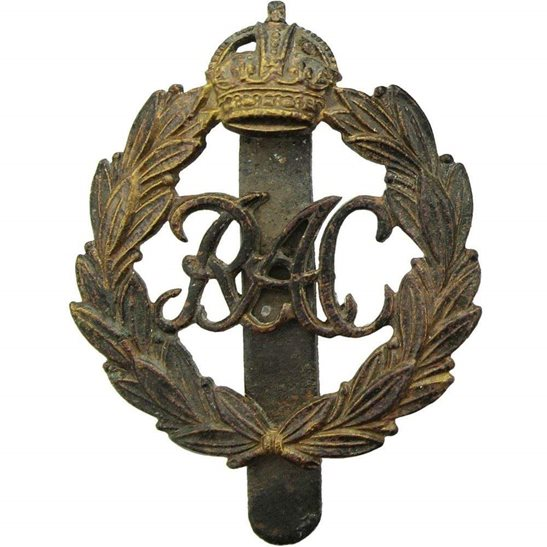 Royal Armoured Corps UK Dug Detecting Find - WW2 Royal Armoured Corps Relic Cap Badge