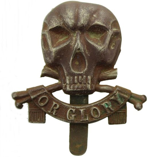 17th / 21st Lancers UK Dug Detecting Find - WW1 17th / 21st Lancers Regiment Deaths Head Relic Cap Badge