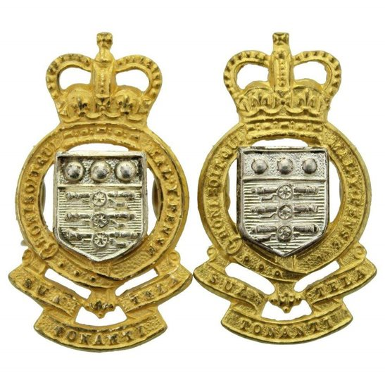 Royal Army Ordnance Corps RAOC Royal Army Ordnance Corps RAOC Collar Badge PAIR - Queens Crown