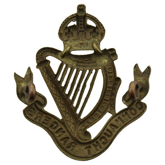 additional image for Connaught Rangers Regiment Irish Cap Badge - EARLY LUGS VERSION