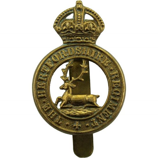 Hertfordshire Regiment WW1 Hertfordshire Regiment Cap Badge