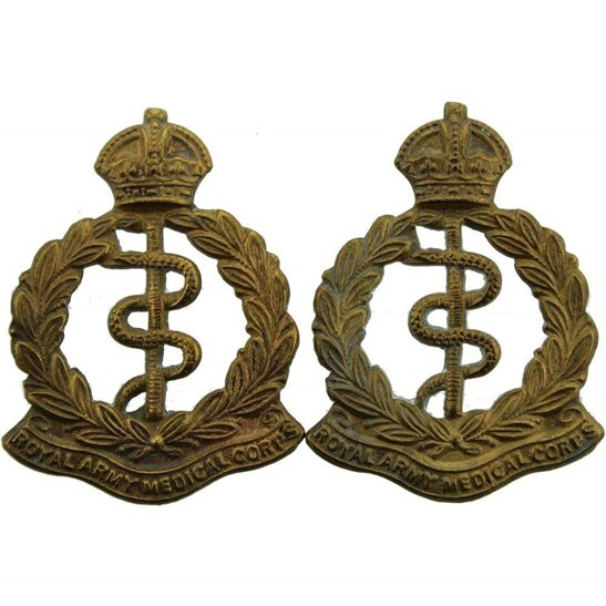 Royal Army Medical Corps RAMC Royal Army Medical Corps RAMC Collar Badge PAIR