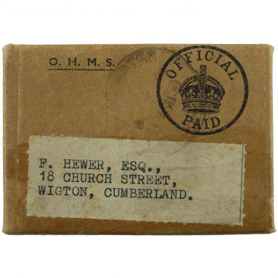 Royal Air Force RAF WW2 AIR MINISTRY Medal Postage Transmittal Box - Royal Air Force