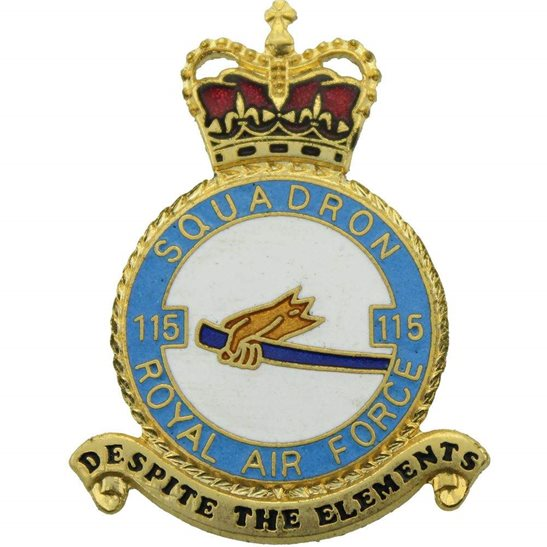 RAF Squadrons 115 Squadron Royal Air Force PLAQUE Badge RAF