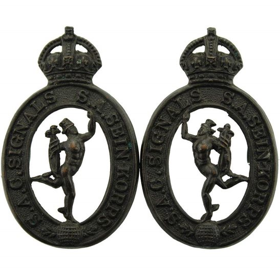 South African Army South African Corps of Signals SACS Africa Army Division Collar Badge PAIR