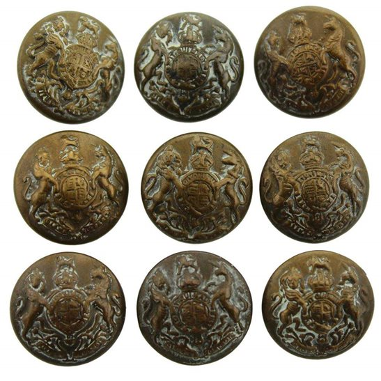 General Service Group of 9x General Service Corps Regiment SMALL Tunic Buttons - 18mm