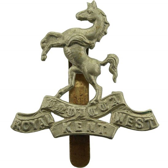 Royal West Kent WW1 Queens Own Royal West Kent Regiment RWK Cap Badge - F.N. B'HAM Makers Mark