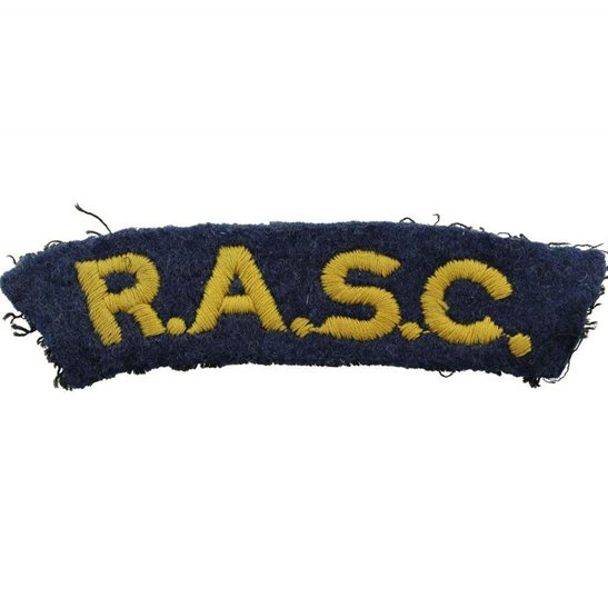 Royal Army Service Corps RASC WW2 Royal Army Service Corps RASC Cloth Shoulder Title Badge Flash