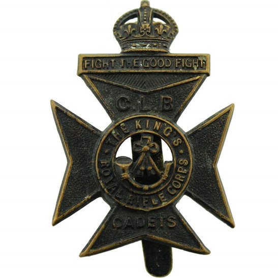 Kings Royal Rifle Corps KRRC Kings Royal Rifle Corps KRRC Regiment Church Lads Brigade CLB Cadets (King's) Cap Badge