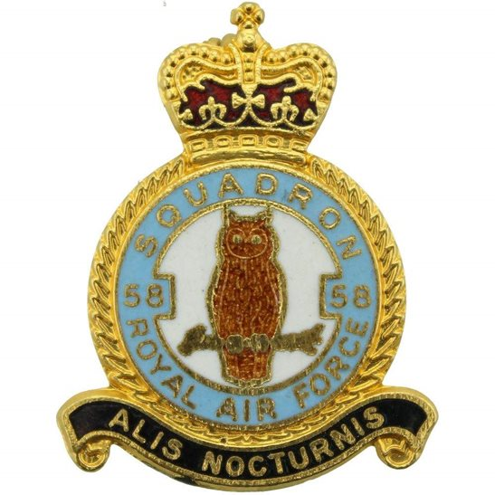 RAF Squadrons 58 Squadron Royal Air Force RAF Lapel Badge