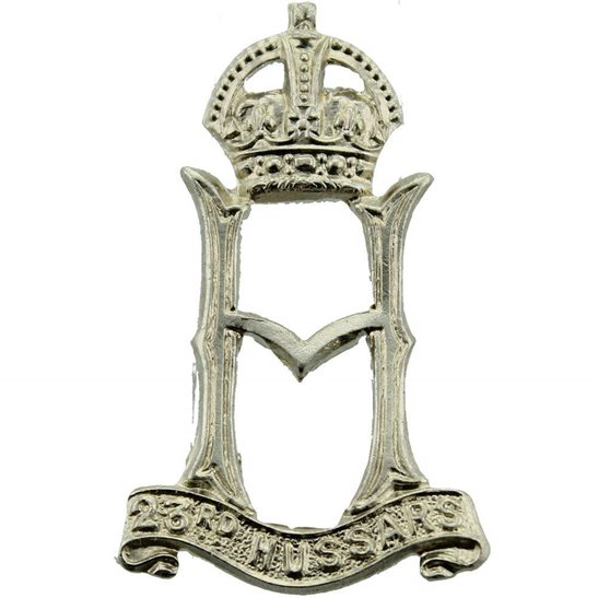 23rd Hussars WW2 RAISED 23rd Hussars Regiment Collar Badge