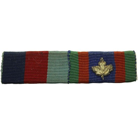 WW2 Medal Ribbon Bar - 1939-45 Star & Canadian Volunteer Service Medal 1943 - SEW ON
