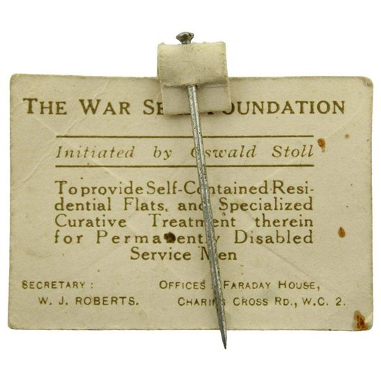 additional image for WW1 War Seal Foundation Homes for Disabled Soldiers Flag Day Fundraising Pin Badge