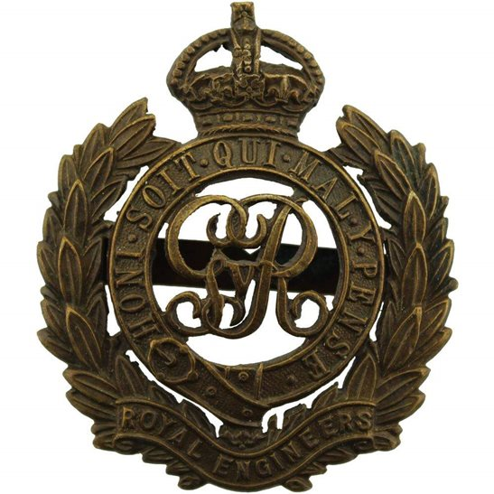 Royal Engineers WW1 Royal Engineers Corps (George V) OFFICERS Bronze Cap Badge