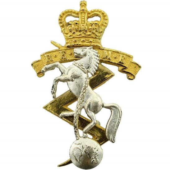 Royal Electrical & Mechanical Engineers REME Royal Electrical & Mechanical Engineers REME Officers GILT Cap Badge - Queens Crown