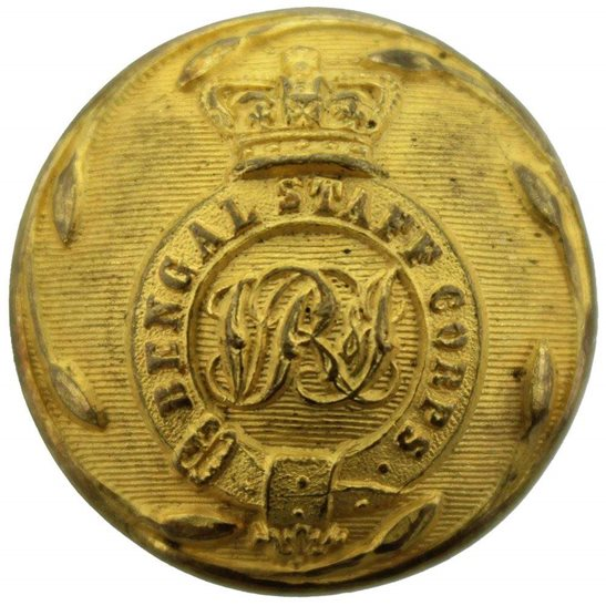 British Indian Army Victorian British Indian Army Bengal Staff Corps Tunic Button - 26mm