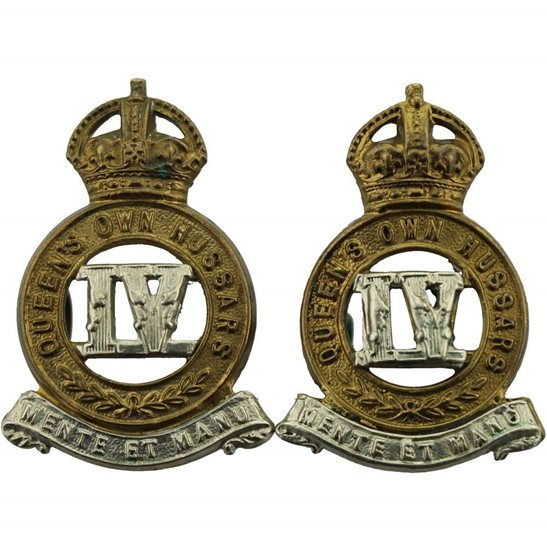 4th Hussars 4th Queens Own Hussars Regiment Collar Badge PAIR