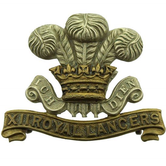 12th Lancers WW1 12th Royal Lancers Regiment Cap Badge - FIRST PATTERN