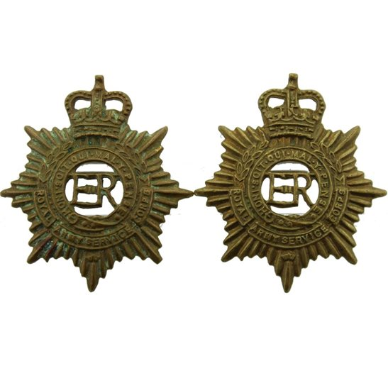 Royal Army Service Corps RASC Royal Army Service Corps RASC Collar Badge PAIR - Queens Crown