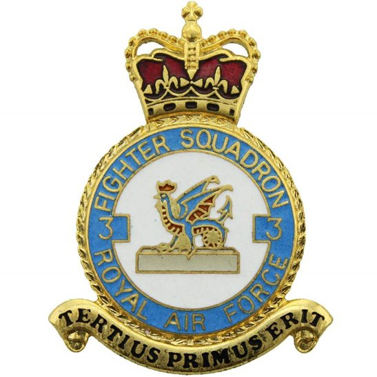 RAF Squadrons 3 Fighter Squadron Royal Air Force PLAQUE Badge RAF