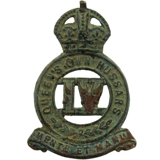 4th Queens Own Hussars UK Dug Detecting Find - WW1 4th Queens Own Hussars Regiment Relic Collar Badge
