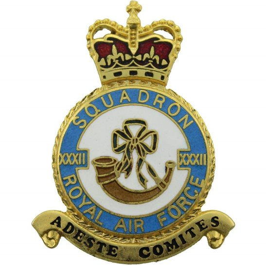 RAF Squadrons XXXII 32 Squadron Royal Air Force PLAQUE Badge RAF