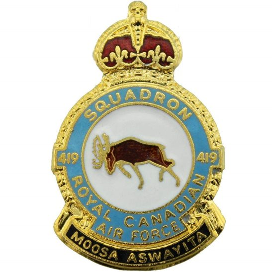 RAF Squadrons Royal Canadian Air Force RCAF 419 Squadron RAF Lapel Badge