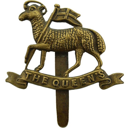 Queens West Surrey WW1 ALL BRASS Economy Issue Queens Royal West Surrey (Queen's) Cap Badge - F.E. WOODWARD