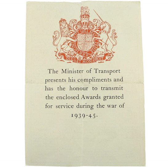 WW2 TRANSPORT (Merchant Navy) Medal Box Transmittal Slip Paperwork
