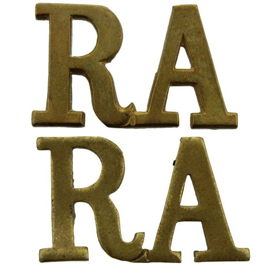Royal Artillery WW1 Royal Artillery Regiment RA Shoulder Title PAIR