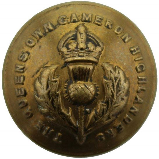 Cameron Highlanders Queens Own Cameron Highlanders Regiment Scottish SMALL Tunic Button - 19mm