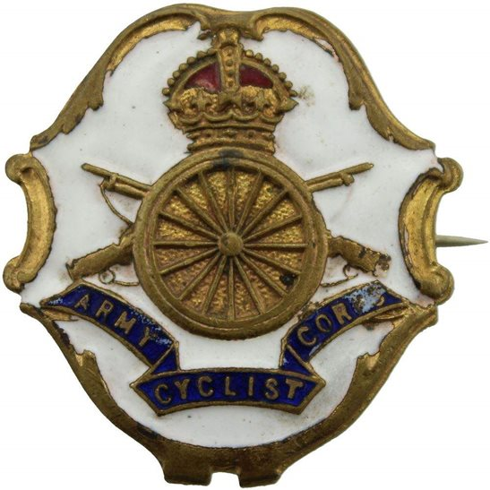 Army Cyclist Corps WW1 Army Cyclist Corps (Cyclists) Porcelain Sweetheart Brooch Badge