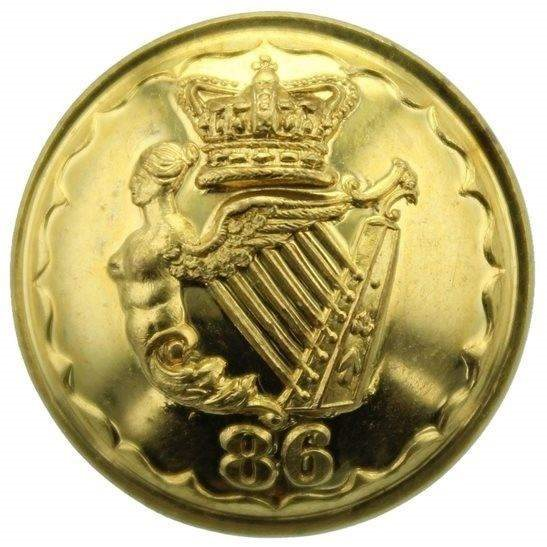 Royal Irish Rifles VICTORIAN 86th Regiment of Foot (Royal County Down) 1855-1881 OFFICERS Irish Tunic Button - 25mm