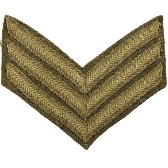 WW1 British Army Sergeants Cloth Chevron Insignia Rank Stripes