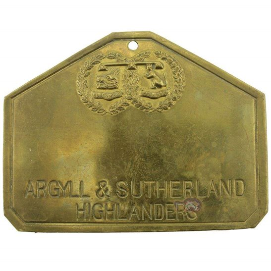 Argyll and Sutherland Highlanders Argyll and Sutherland Highlanders Scottish Regiment Brass Bed / Duty Foot Plate