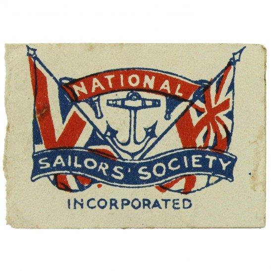 WW1 British National Sailors Navy Society Flag Day Fundraising Pin Badge