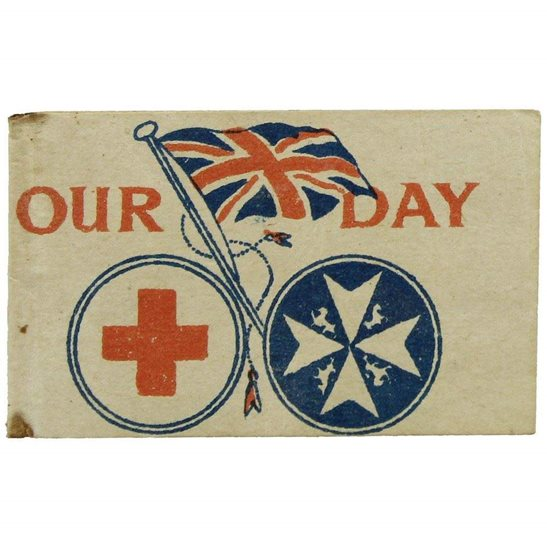 WW1 Red Cross Wounded Soldiers OUR DAY Charity Effort Flag Day Fundraising Pin Badge
