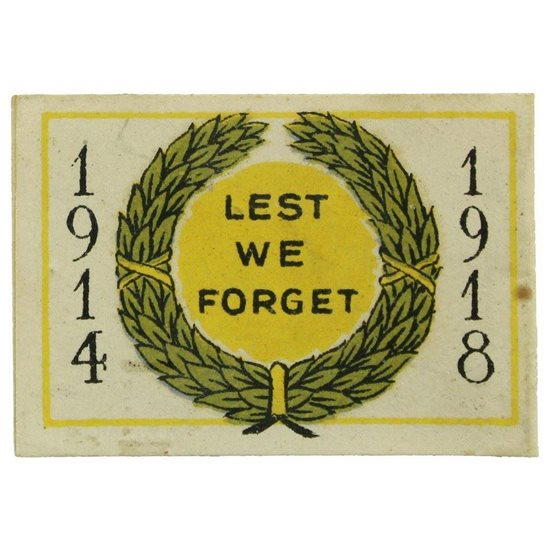 WW1 British Sailors Society LEST WE FORGET 1914-1918 Flag Day Fundraising Pin Badge