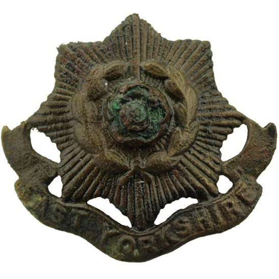 Somme Battlefield Find - WW1 East Yorkshire Regiment Relic Cap Badge
