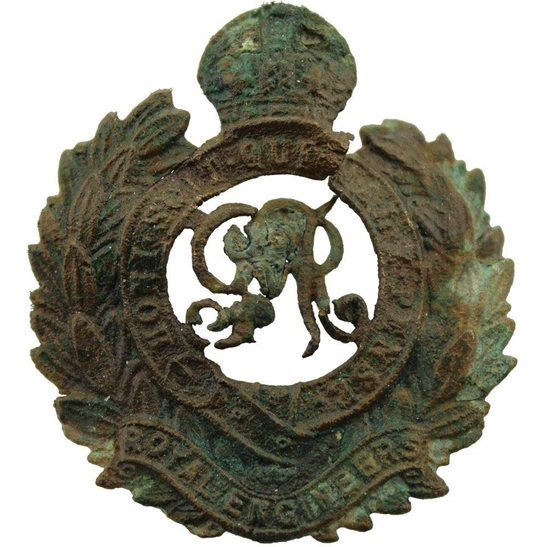 Somme Battlefield Find - WW1 Royal Engineers Corps Relic Cap Badge