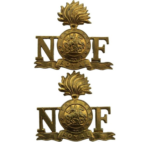 Northumberland Fusiliers WW2 Royal Northumberland Fusiliers Regiment Shoulder Title PAIR